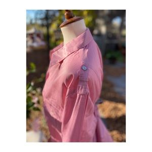 Pink Metallic Button Up Top Shirt Cowboy Military